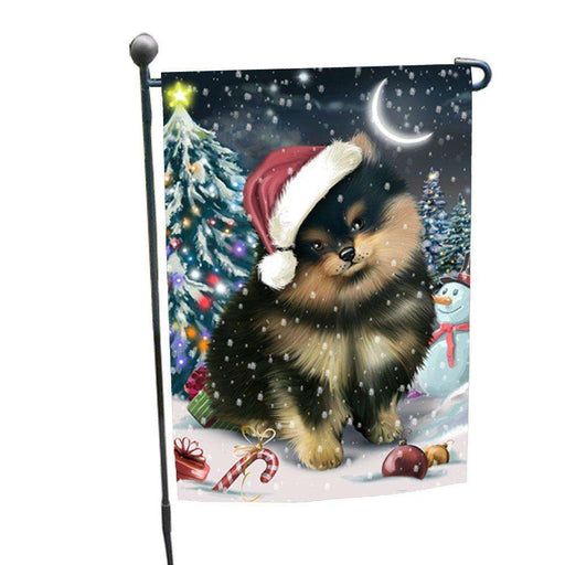 Have a Holly Jolly Christmas Pomeranians Dog in Holiday Background Garden Flag D202