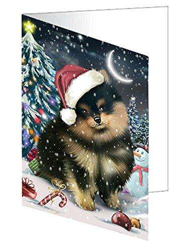 Have a Holly Jolly Christmas Pomeranians Dog in Holiday Background Greeting Card D303