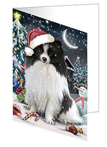 Have a Holly Jolly Christmas Pomeranians Dog in Holiday Background Greeting Card D304