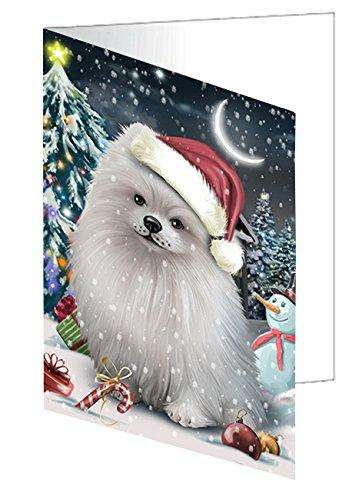 Have a Holly Jolly Christmas Pomeranians Dog in Holiday Background Greeting Card D306