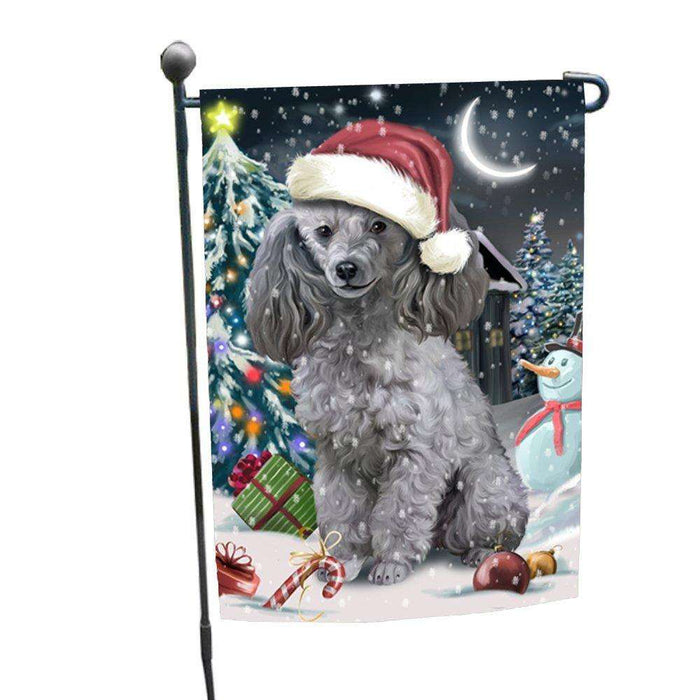 Have a Holly Jolly Christmas Poodles Dog in Holiday Background Garden Flag D112