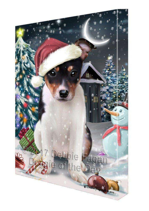 Have a Holly Jolly Christmas Rat-Terriers Dog in Holiday Background Canvas Wall Art D157