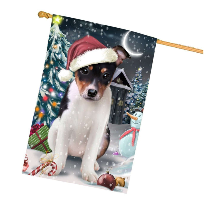 Have a Holly Jolly Christmas Rat-Terriers Dog in Holiday Background House Flag