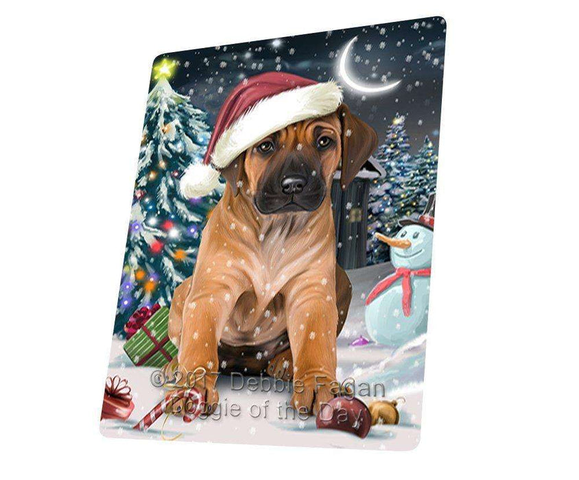 Have a Holly Jolly Christmas Rhodesian Ridgeback Dog in Holiday Background Large Refrigerator / Dishwasher Magnet D116