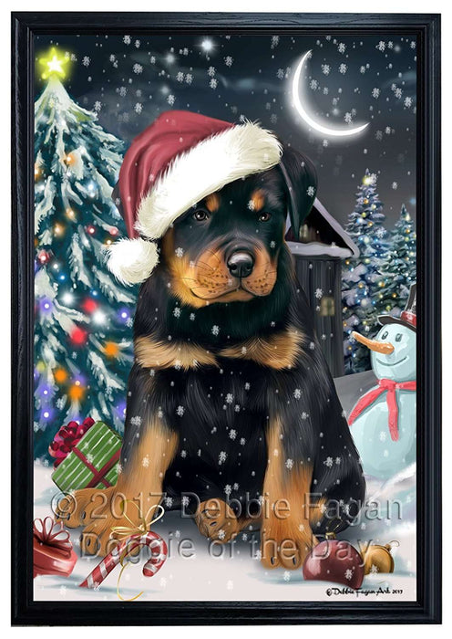 Have a Holly Jolly Christmas Rottweilers Dog in Holiday Background Framed Canvas Print Wall Art D029