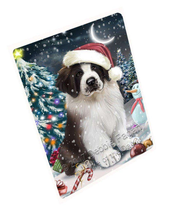 "Have A Holly Jolly Christmas Saint Bernard Dog In Holiday Background Magnet Mini (3.5"" x 2"") d161"