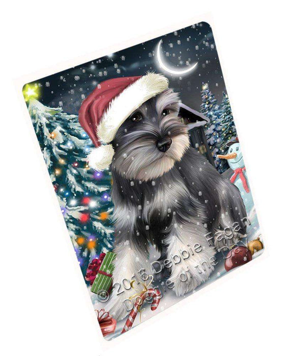 Have a Holly Jolly Christmas Schnauzer Dog in Holiday Background Large Refrigerator / Dishwasher Magnet D033
