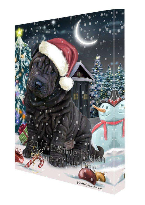 Have a Holly Jolly Christmas Shar-Pei Dog in Holiday Background Canvas Wall Art D125
