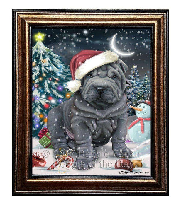 Have a Holly Jolly Christmas Shar-Pei Dog in Holiday Background Framed Canvas Print Wall Art D039