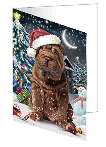 Have a Holly Jolly Christmas Shar-Pei Dog in Holiday Background Greeting Card D267