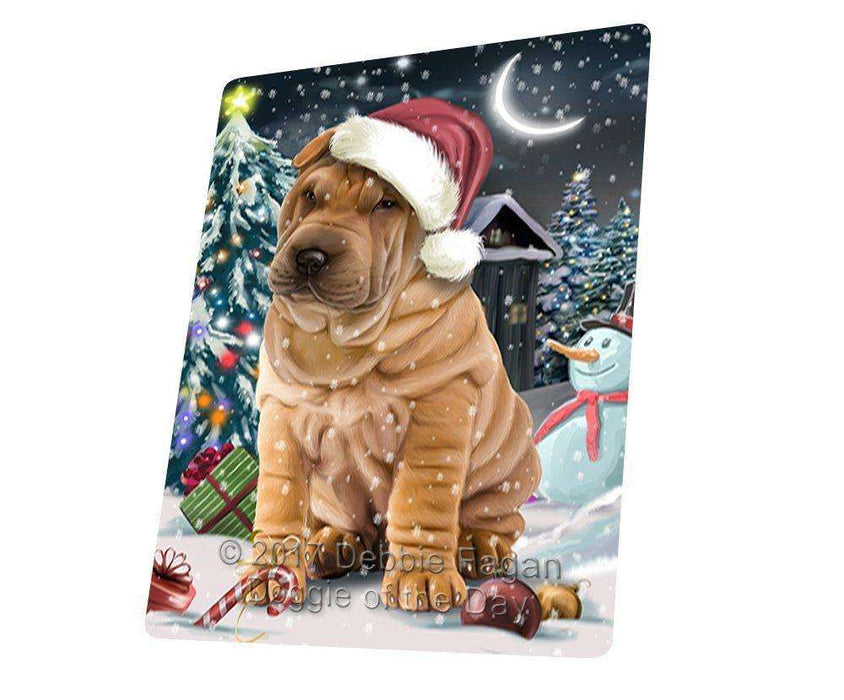 "Have A Holly Jolly Christmas Shar Pei Dog In Holiday Background Magnet Mini (3.5"" x 2"") D123"