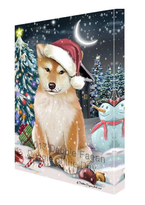 Have a Holly Jolly Christmas Shiba Inu Dog in Holiday Background Canvas Wall Art D206