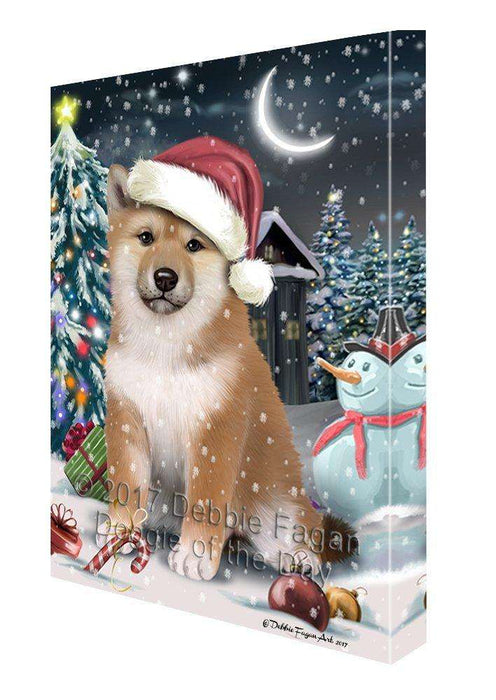 Have a Holly Jolly Christmas Shiba Inu Dog in Holiday Background Canvas Wall Art D207