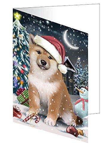 Have a Holly Jolly Christmas Shiba Inu Dog in Holiday Background Greeting Card D308