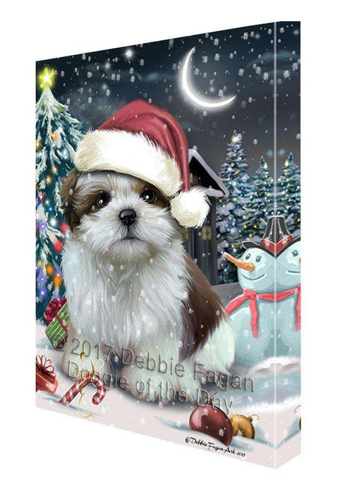 Have a Holly Jolly Christmas Shih Tzu Dog in Holiday Background Canvas Wall Art D212
