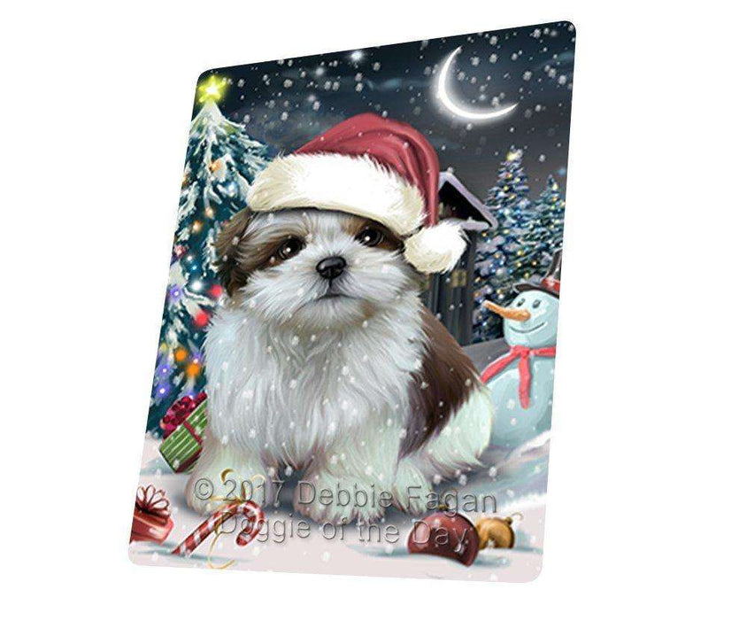 "Have A Holly Jolly Christmas Shih Tzu Dog In Holiday Background Magnet Mini (3.5"" x 2"") D212"