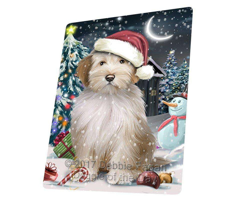 Have a Holly Jolly Christmas Tibetan Terrier Dog in Holiday Background Large Refrigerator / Dishwasher Magnet D126