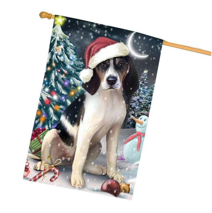Have a Holly Jolly Christmas Treeing Walker Coonhound Dog in Holiday Background House Flag
