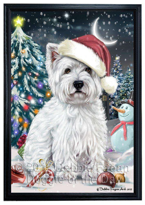 Have a Holly Jolly Christmas West Highland White Terrier Dog in Holiday Background Framed Canvas Print Wall Art D017