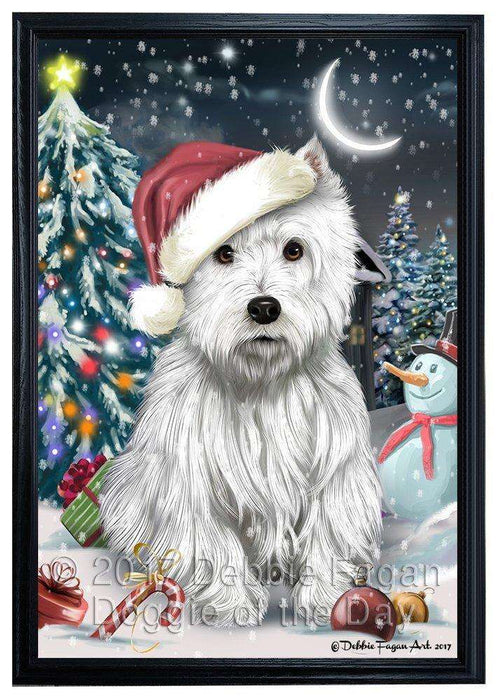 Have a Holly Jolly Christmas West Highland White Terrier Dog in Holiday Background Framed Canvas Print Wall Art D020