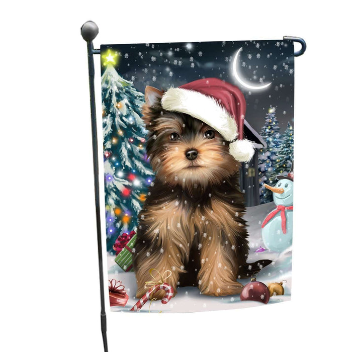 Have a Holly Jolly Christmas Yorkshire Terrier Dog in Holiday Background Garden Flag D048