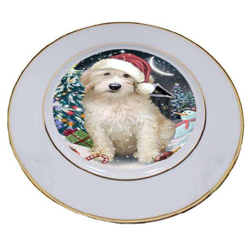 Have a Holly Jolly Goldendoodle Dog Christmas  Porcelain Plate PLT51658