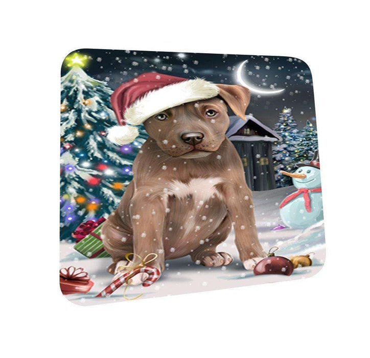 Have a Holly Jolly Pit Bull Dog Christmas Coasters CST034 (Set of 4)