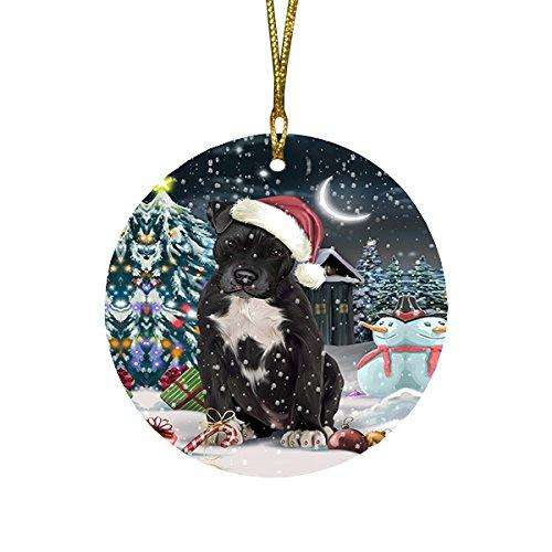 Have a Holly Jolly Pit Bull Dog Christmas Round Flat Ornament POR1303