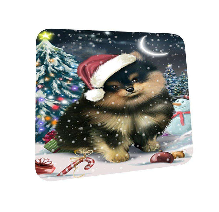 Have a Holly Jolly Pomeranian Dog Christmas Coasters CST171 (Set of 4)