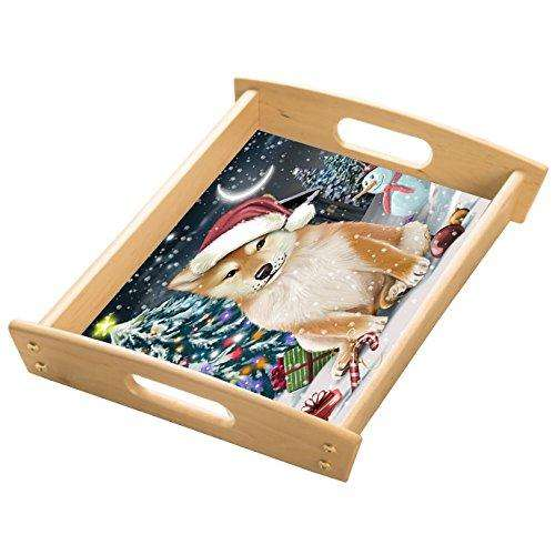 Have a Holly Jolly Shiba Inu Dog Christmas Wood Serving Tray with Handles Natural WST0203