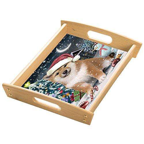 Have a Holly Jolly Shiba Inu Dog Christmas Wood Serving Tray with Handles Natural WST0204