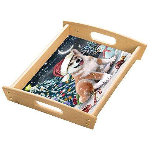 Have a Holly Jolly Shiba Inu Dog Christmas Wood Serving Tray with Handles Natural WST0206