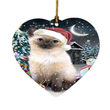 Have a Holly Jolly Siamese Cat Christmas Heart Christmas Ornament HPOR51675