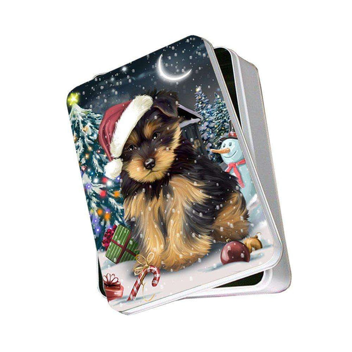 Have a Holly Jolly Yorkshire Terrier Dog Christmas Photo Storage Tin PTIN0192