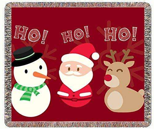 Holly Jolly Ho Ho Ho Christmas Snowman Reindeer and Santa Woven Throw Blanket 54 X 38