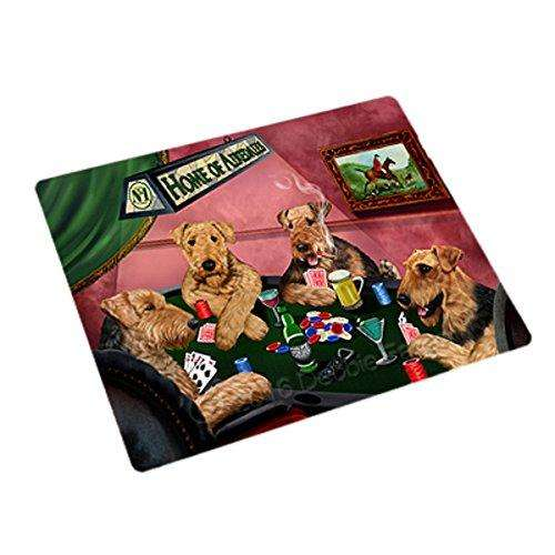Home of 4 Airedale Dogs Playing Poker Large Stickers Sheet of 12