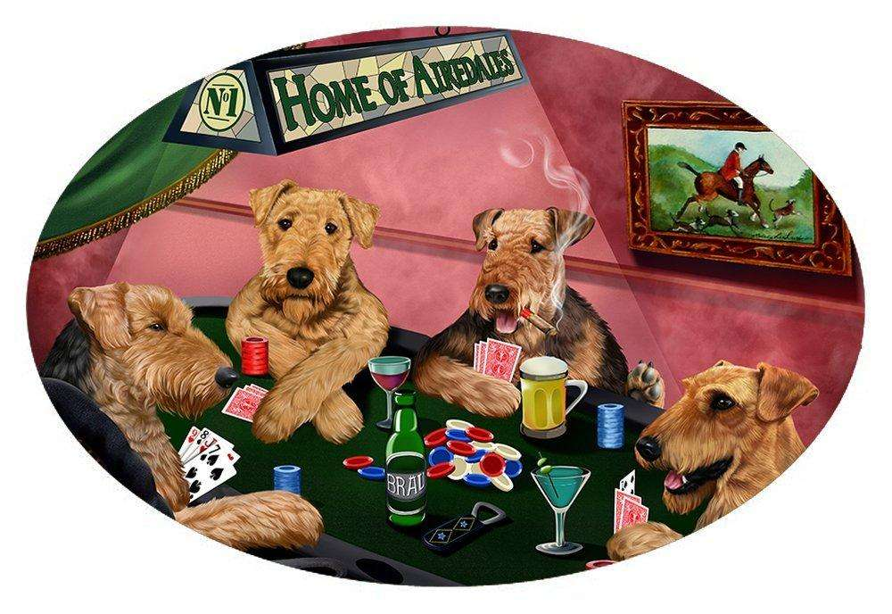 Home of 4 Airedales Dogs Playing Poker Oval Envelope Seals