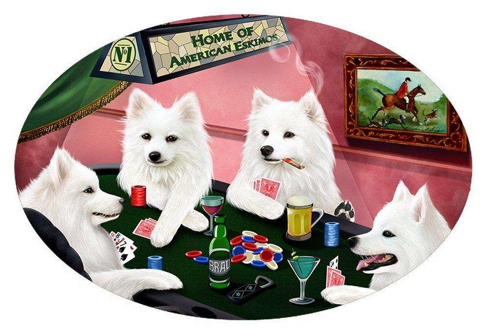 Home of 4 American Eskimos Dogs Playing Poker Oval Envelope Seals