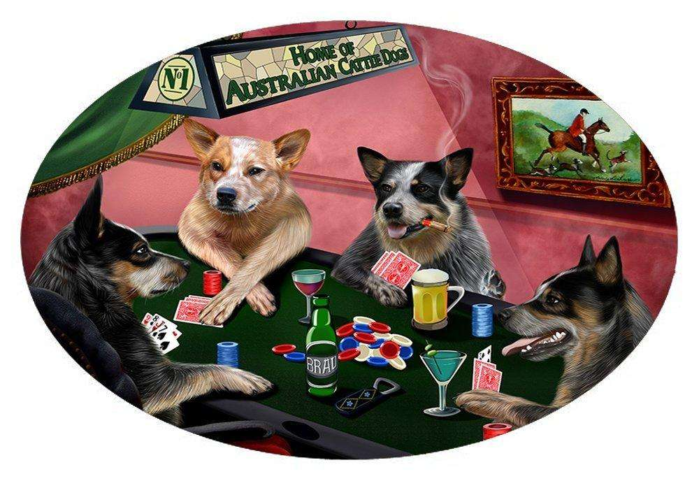 Home of 4 Australian Cattle Dogs Playing Poker Oval Envelope Seals