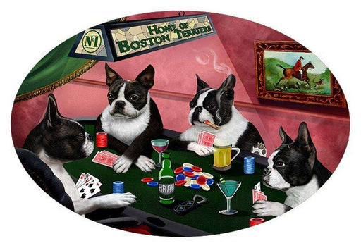 Home of 4 Boston Terrier Dogs Playing Poker Oval Envelope Seals