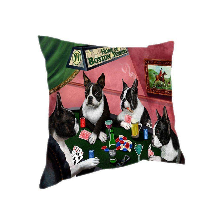 Home of 4 Boston Terrier Dogs Playing Poker Pillow