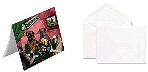 Home of 4 Bullmastiff Dogs Playing Poker Greeting Card (20)