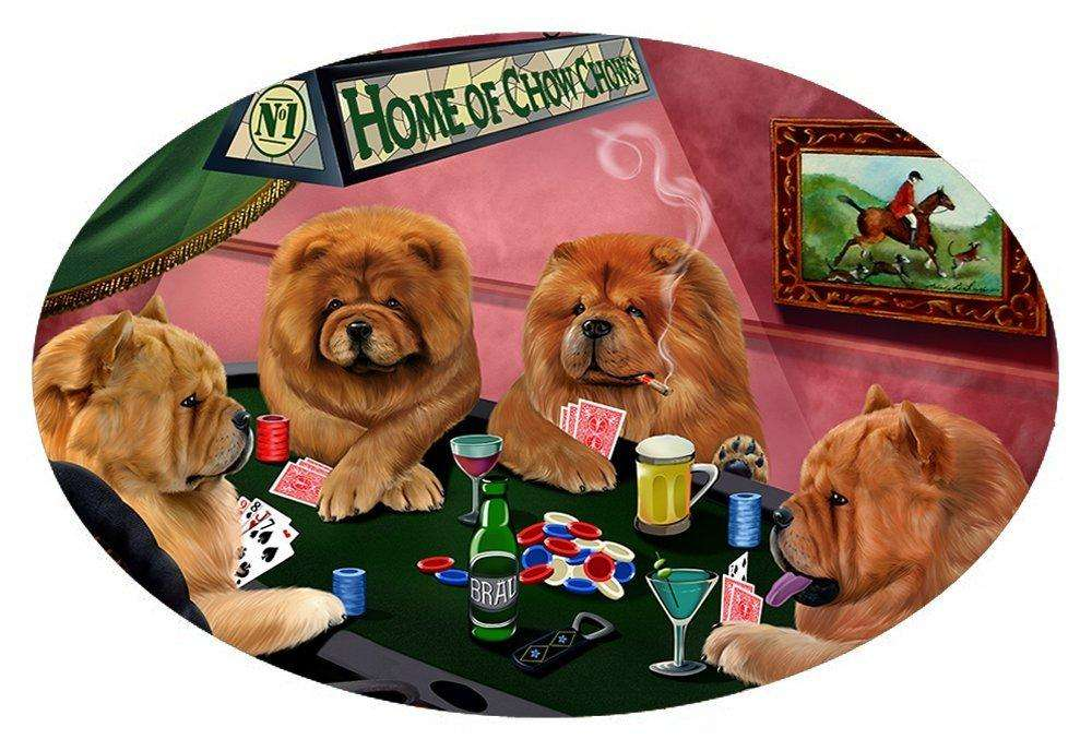 Home of 4 Chow Chow Dogs Playing Poker Oval Envelope Seals