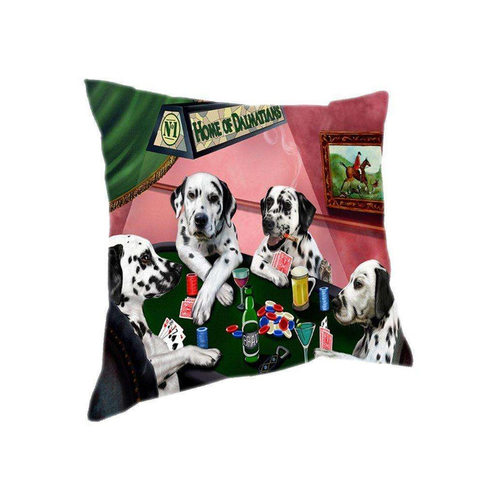 Home of 4 Dalmatian Dogs Playing Poker Pillow