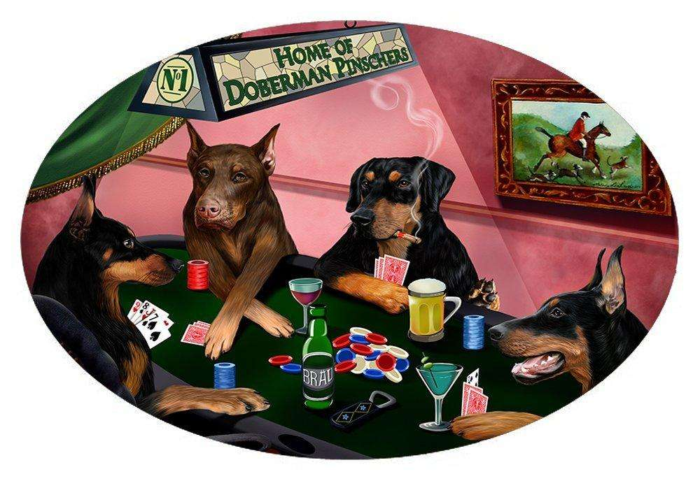 Home of 4 Doberman Pinscher Dogs Playing Poker Oval Envelope Seals
