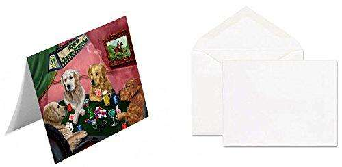 Home of 4 Golden Retriever Dogs Playing Poker Greeting Card (20)