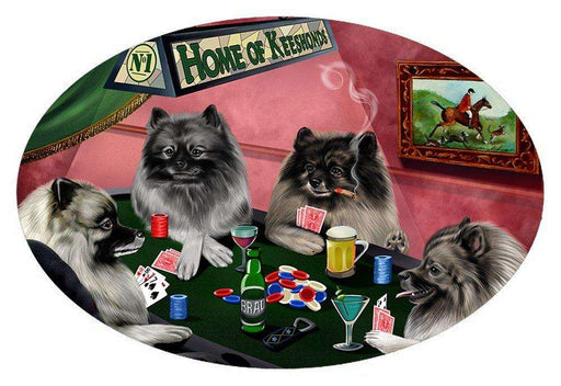 Home of 4 Keeshond Dogs Playing Poker Oval Envelope Seals