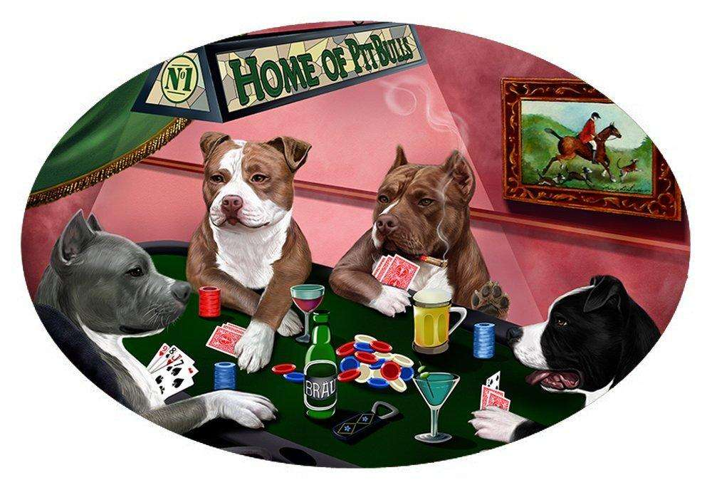 Home of 4 Pit Bull Dogs Playing Poker Oval Envelope Seals