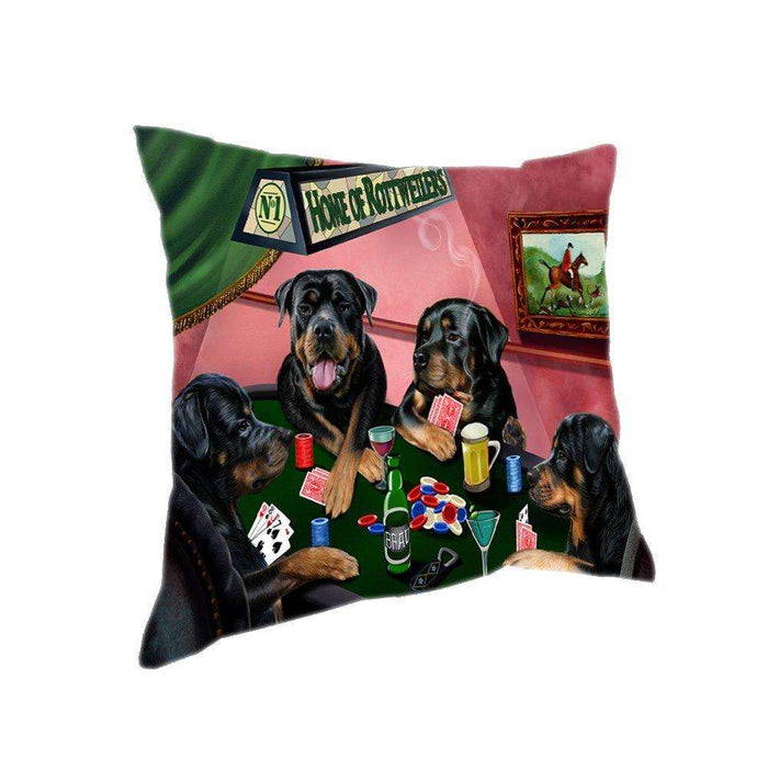Home of 4 Rottweilers Dogs Playing Poker Pillow