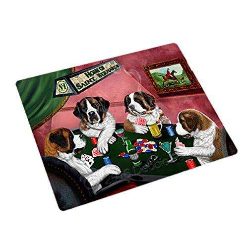 Home of 4 Saint Bernard Dogs Playing Poker Large Stickers Sheet of 12